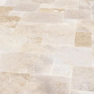 Ivory Travertine Flagstone Pavers Swatch